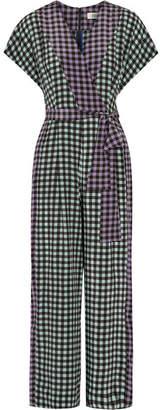 Diane von Furstenberg - Gingham Silk Crepe De Chine Jumpsuit - Black $470 thestylecure.com