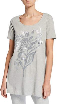 Joan Vass Plus Size Sequin Flower Short-Sleeve Cotton Interlock Tunic
