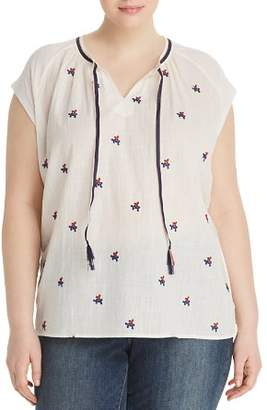 Lucky Brand Plus Floral-Embroidered Top