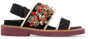 Marni Embellished Glittered Leather And Suede Slingback Sandals