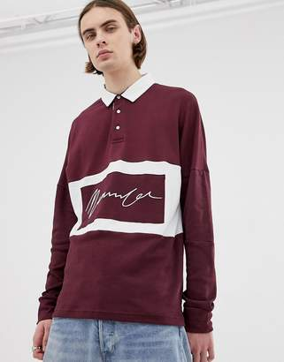 Mennace Oversized Rugby Polo Shirt In Burgundy