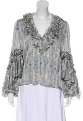 Alexis Print Peasant Blouse w/ Tags
