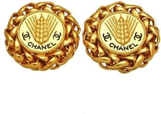 Chanel CC Logo Gold Tone Metal Rice Ear Round Earrings
