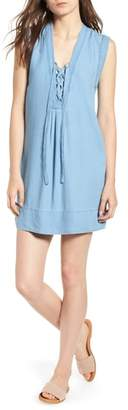 Splendid Lace-Up Chambray Dress