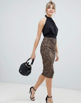 Asos Design DESIGN leopard print ponte pencil midi skirt