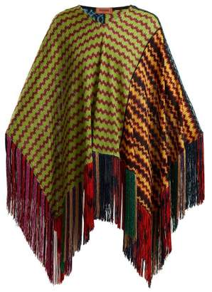 Missoni Wave Laddered Knitted Poncho - Womens - Green