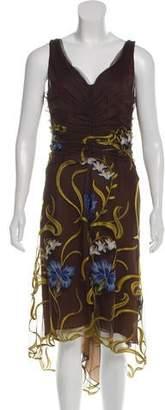 Melinda Eng Mesh-Accented Midi Dress