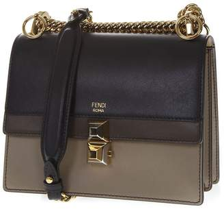 Fendi Kan I Taupe & Black Leather Shoulder Bag