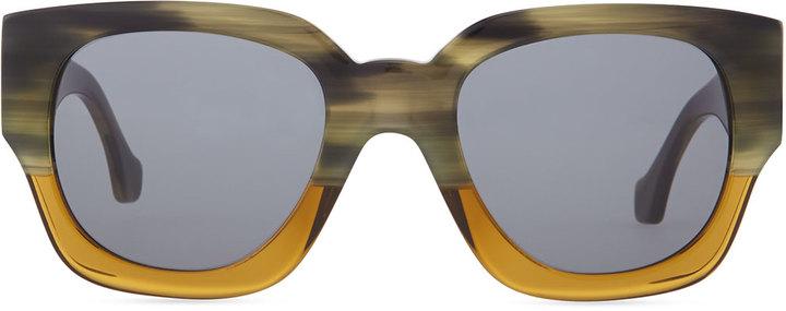 Balenciaga Thick Square Acetate Sunglasses, Striped Gray/Green