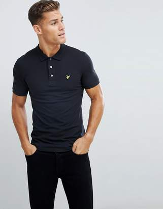 Lyle & Scott slim fit polo shirt with stretch in black