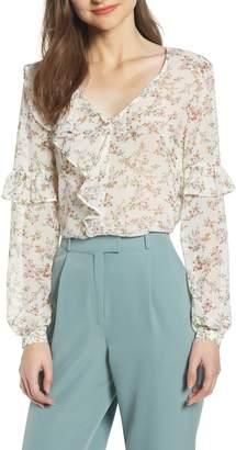 June & Hudson Floral Ruffle Top