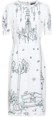 Dolce & Gabbana Gathered Printed Crepe Dress
