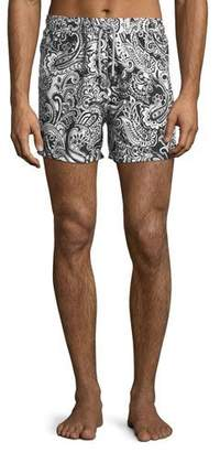 Etro Two-Tone Paisley Swim Trunks