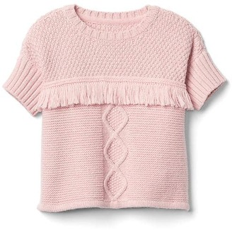Shimmer cable knit fringe sweater. $44.95 thestylecure.com