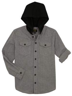 Lee Hooded Long Sleeve Chambray Button Up Shirt (Big Boy)