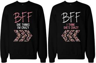 365 Printing Crazy BFF Floral Printed Sweater BFF Matching SweatShirts for Best Friends