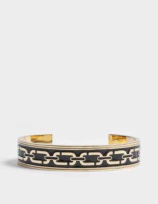 Marc Jacobs Double J Enamel Printed Chain Cuff Bracelet in Black Enamel