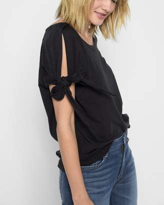 7 For All Mankind Bow Tie Sleeve Tee in Black