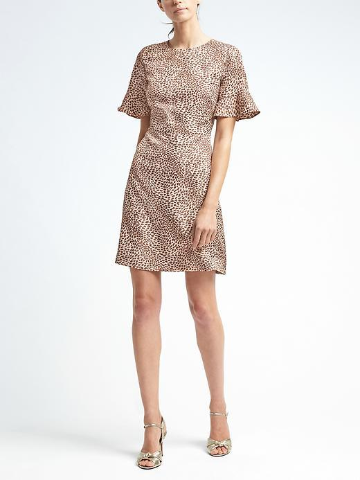 Banana Republic  Leopard Print Flutter-Sleeve Crew Dress