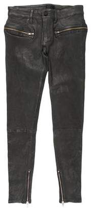 RtA Denim Mid-Rise Skinny Leather Pants w/ Tags