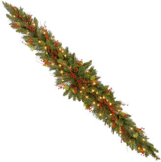 clear National Tree Company 6' Classical Collection Mantel Swag with Red Berries, Cones, Holly Leaves and 50 Lights