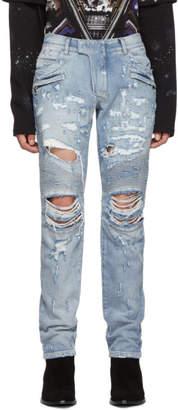 Balmain Blue Classic Biker Jeans