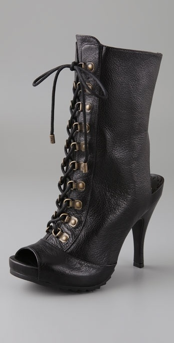 Juicy Couture Naja Lace Up Peep Toe Booties
