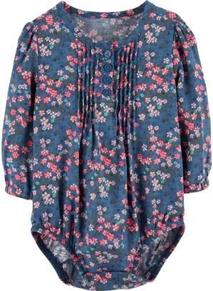 Osh Kosh Oshkosh Bgosh Baby Girl Floral Pintuck Henley Bodysuit
