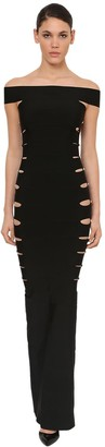 Azzaro Long Mermaid Side Cutout Knit Dress
