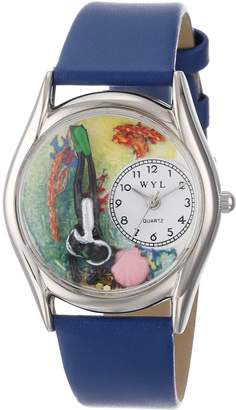 Whimsical Watches Women's S0810014 Scuba Diving Black Skin Leather Watch
