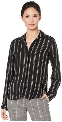 Bella Dahl Bridgeport Lurex Stripe Rounded Hem Pocket Button Down Shirt