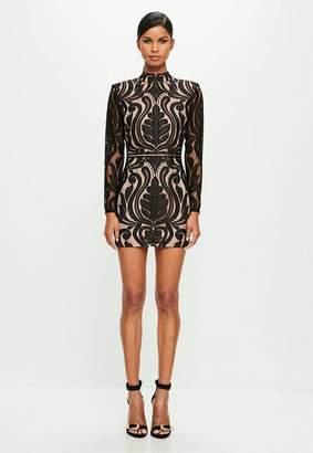 Missguided Black High Neck Mini Dress