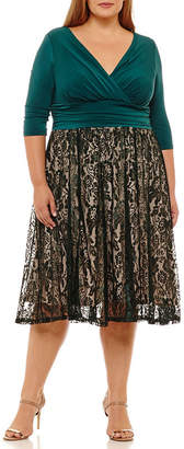 Melrose Elbow Sleeve Lace Fit & Flare Dress - Plus