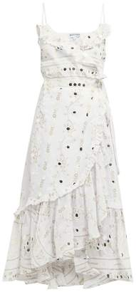 Juliet Dunn Mirror Embroidered Ruffle Cotton Midi Dress - Womens - White