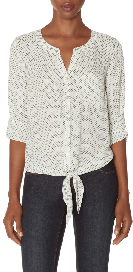 The Limited Polka Dot Tie-Front Blouse