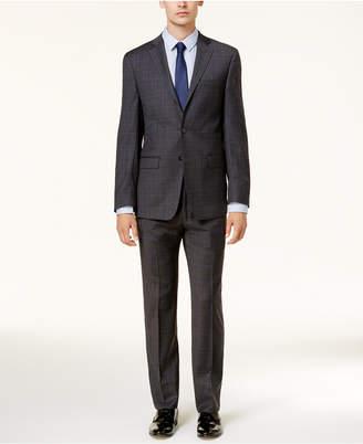 Calvin Klein Men's Slim-Fit Dark Gray & Blue Plaid Suit