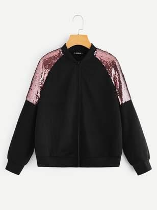 SheinShein Raglan Sleeve Contrast Sequin Zipper Jacket