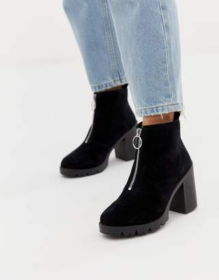 Office Aida black suede chunky heeled ankle boot with silver zip