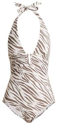 Heidi Klein Kalahari U Bar Halterneck Swimsuit - Womens - Khaki White