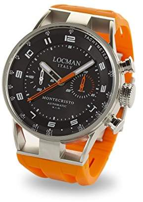 Locman Italy Men's Montecristo Auto Chrono Stainless Steel Automatic-self-Wind Diving Watch with Rubber Strap