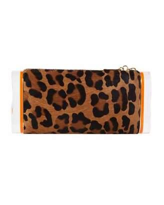 Edie Parker Lara Leopard Calf-Hair Clutch Bag