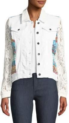 Berek Temptation Lace-Sleeve Denim Jacket, Plus Size