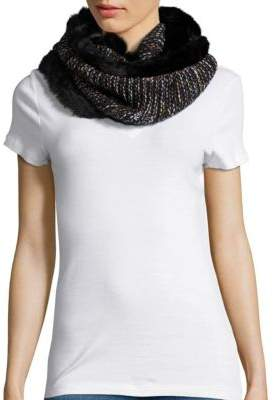 Collection 18 Faux Fur Trimmed Knit Infinity Scarf