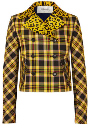 Diane von Furstenberg Leopard-print Calf Hair And Checked Twill Jacket - Yellow