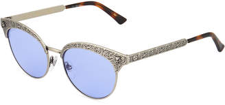 Gucci Half-Rim Metal Tiger Sunglasses