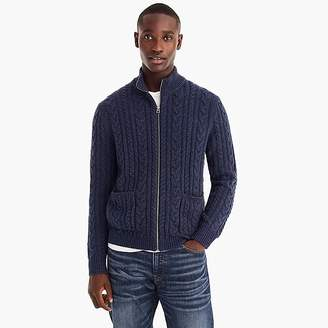 J.Crew Rugged merino wool cable-knit full-zip sweater