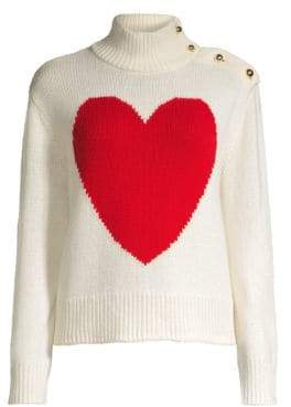 Kate Spade Women's Broome Street Heart Turtleneck Sweater - French Cream - Size Large