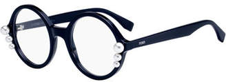 Fendi Round Optical Frames w/ Pearly Trim