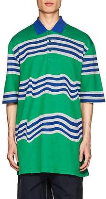 Martine Rose Napa by NAPA BY MEN'S EGO STRIPED COTTON OVERSIZED POLO SHIRT - GREEN SIZE 1