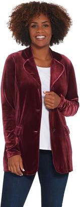 Susan Graver Stretch Velvet Notch-Collar Button Front Blazer